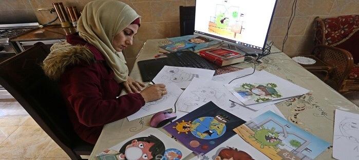 فنانة فلسطينية تجسد واقع فايروس كورونا برسم